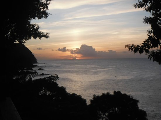 Caribbean Kitchen at Castara Retreats: sunset on the deck