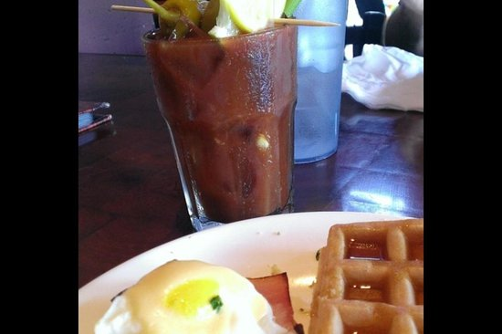 Harris Grill: Sunday brunch buffet. Their bloody Mary's are delicious!