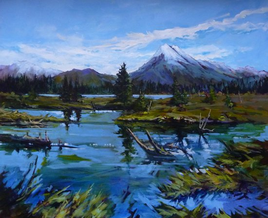 Vermilion Lakes: Acrylic painting on canvas .    www.perryhaddock.com