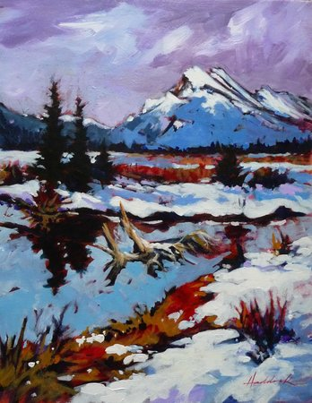Vermilion Lakes: Acrylic painting on canvas.   www.perryhaddock.com