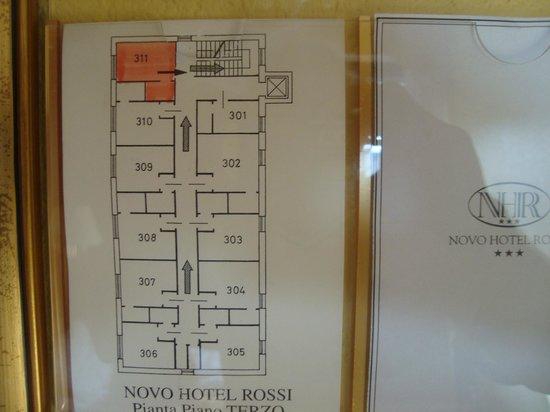 Novo Hotel Rossi: foto disposição dos quartos