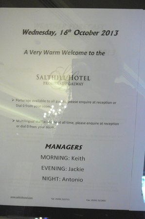 The Salthill Hotel: Salthill Hotel managers for the day