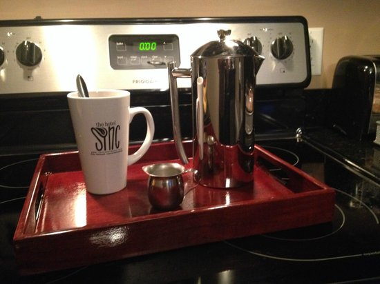 The Hotel SYNC: French Press Coffee every morning