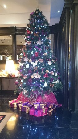 Christmas tree in lobby of Ashling Hotel, Dublin, 08-12-13