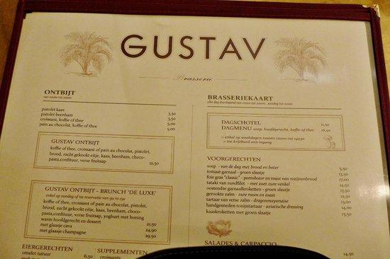 Brasserie Gustav: Bistrokarte