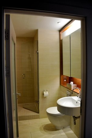 Apex Waterloo Place Hotel: Bathroom with tiled walk-in shower