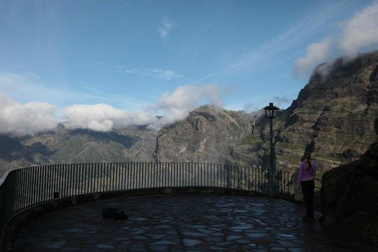 Valley of the Nuns : The viewing platform with mountain tops on the horizon.