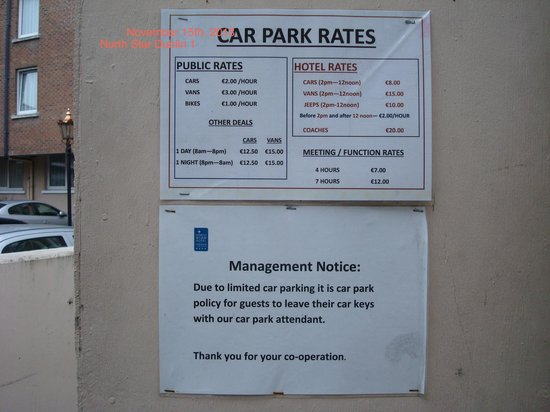 North Star Hotel: Car Parking Rates 1