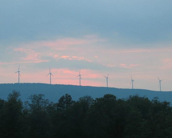 Keen Lake Camping and Cottage Resort : View of Wind Turbines From Lake