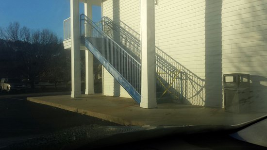 Baymont Inn & Suites Smithfield: Construction tape blocking unsafe stairway (but no signs warning of danger)