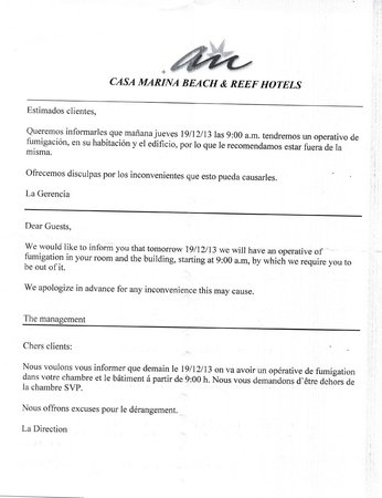 Casa Marina Beach: fumigation notice