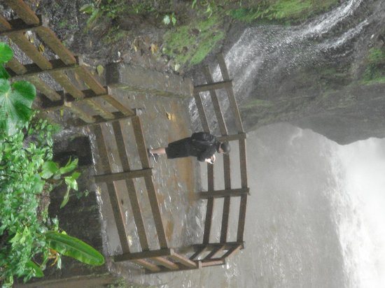 La Paz Waterfall Gardens: Platform at the base of the falls can be wet.