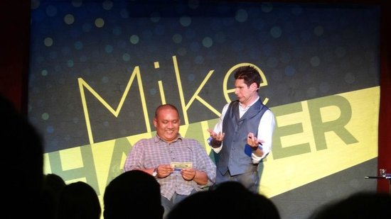 Mike Hammer - Comedy & Magic Show: Hey, I'm on stage with Mike Hammer...