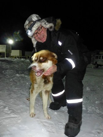 Svalbard Husky: Me with one of the sled dogs