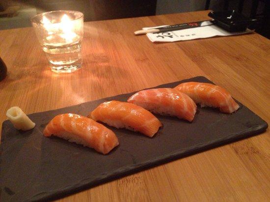 Sushi Bar Bazel: Nigiri of Salmon toro