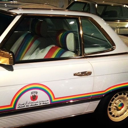 Emirates National Auto Museum: Yes! Rainbow highlights and gold plating!
