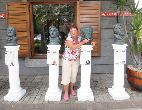 Blue Penny Museum with statues