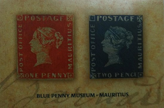 Blue Penny Museum: card with legendary stamps