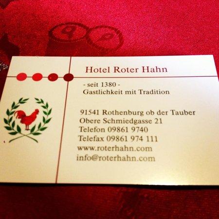 Restaurant Roter Hahn: La carte