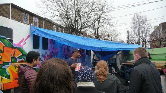 Hush Hip Hop Tours: new artwork being created in the rain