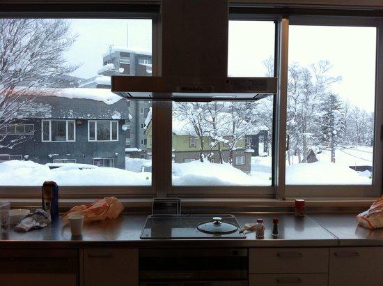 Yama Shizen: キッチンから外の眺め