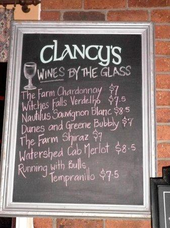 Clancy's Irish Bar & Restaurant: Clancy's wine menu by glasses