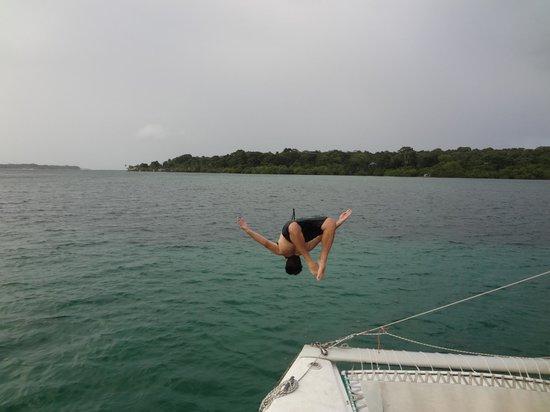 Bocas Sailing: little back flip off the boat