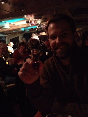 Jazz Boat: My husband enjoying the hot wine welcome drink on Jazzboat!