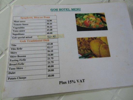 Goh Hotel : Menu