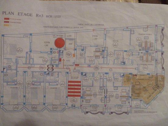 Hotel El Faracha: Plan des chambres d'un étage