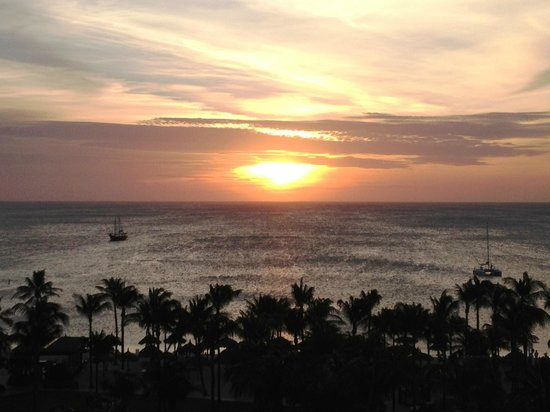 "Aruba Marriott Resort & Stellaris Casino: Sunset from 6th Floor ""premium oceanview"" room."