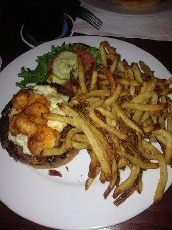 Poe's Tavern: veggie burger w/garlic bleu cheese & buffalo shrimp
