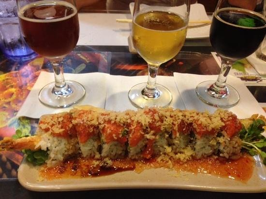 Sansei Seafood Restaurant & Sushi Bar: Spicy tuna/dynomite roll with a great selection of beer.