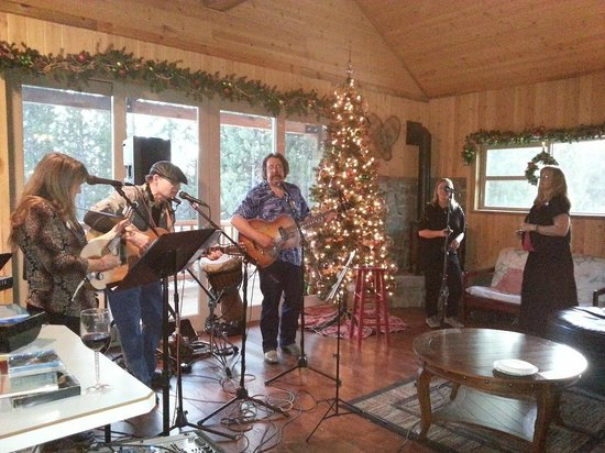 DiamondStone Guest Lodges: HS upstairs Treetop Lounge event space Christmas Party example of frequent house concerts