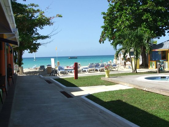Grand Pineapple Beach Negril: view of the beach from the dining room/ bar