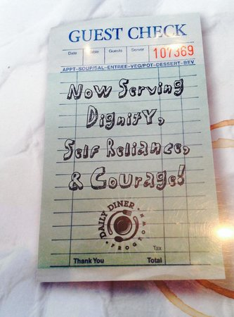 Back of the menu describes larger mission of the Daily Diner