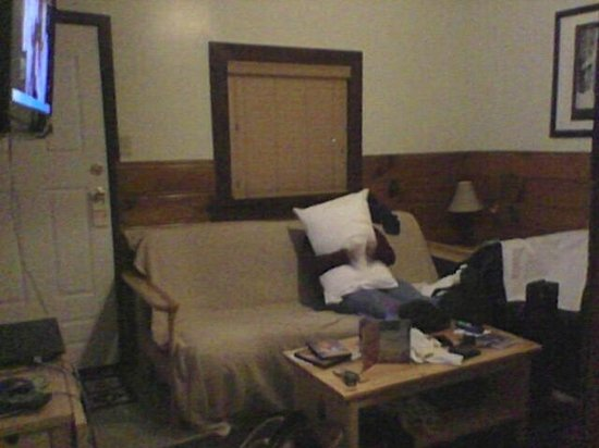 Wolf Creek Resort: Living room. Sorry for the mess, we were really cramped!