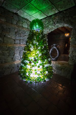 Hotel Granada: Christmas tree made out of beer bottles. We thought this was very creative use of bottles.