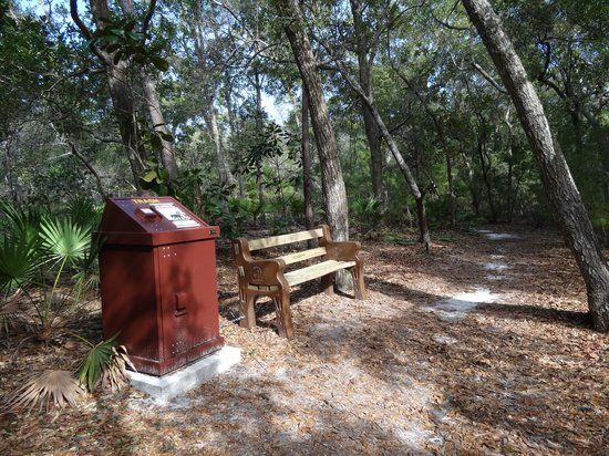Oak Tree Nature Park: benches and trash bins along the way