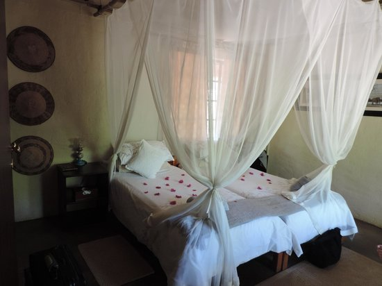 KwaMbili Game Lodge : Beds strewn with petals
