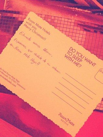 Room Mate Vega: Postal de bienvenida en la habitación