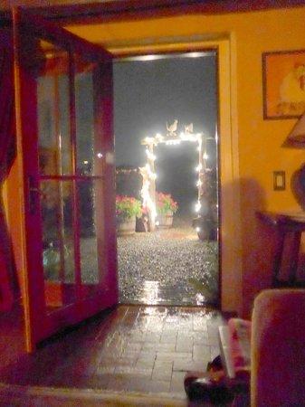 Casa Gallina: Through open front door and gate rain storm Bantam Roost