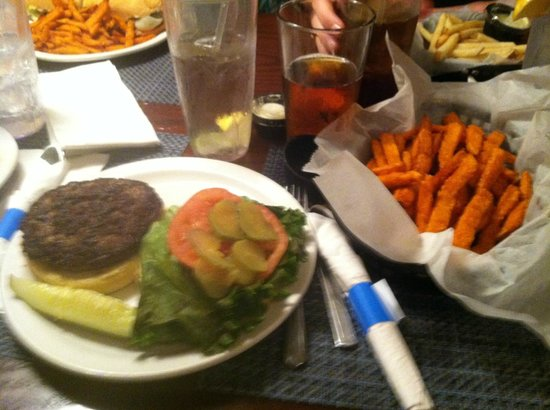 Traders Seafood Steak and Ale: Hamburger and sweet potato fries