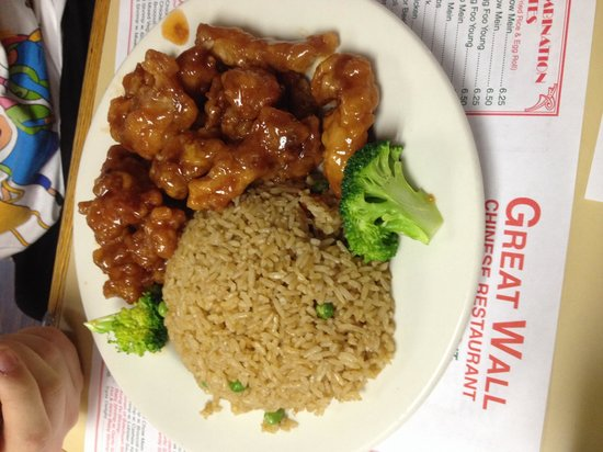Great Wall: Tso chicken and fried rice