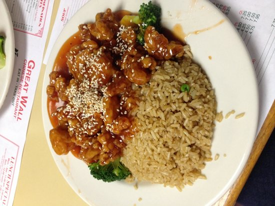 Great Wall: Sesame chicken with fried rice
