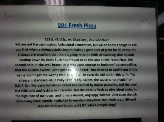 99 Cent Fresh Pizza: The rest of the story...