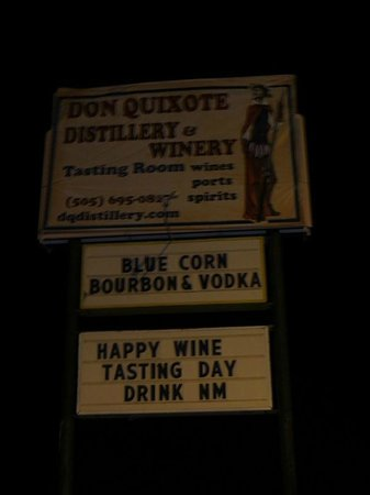Don Quixote Distillery & Winery : the dark sign out front by the entrance