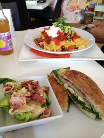 Sprout Eden: Ham and cheese toasty (with feta and pesto substitute) an a small Caesar side salad