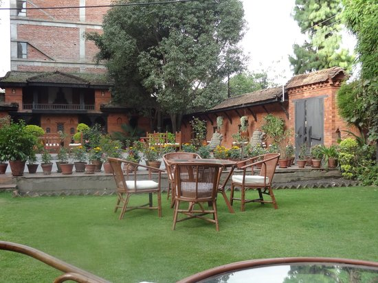 Kantipur Temple House : A section of the garden - also used for free morning yoga