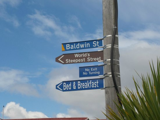 Headfirst Travel - Day Tours: Baldwin Street signage